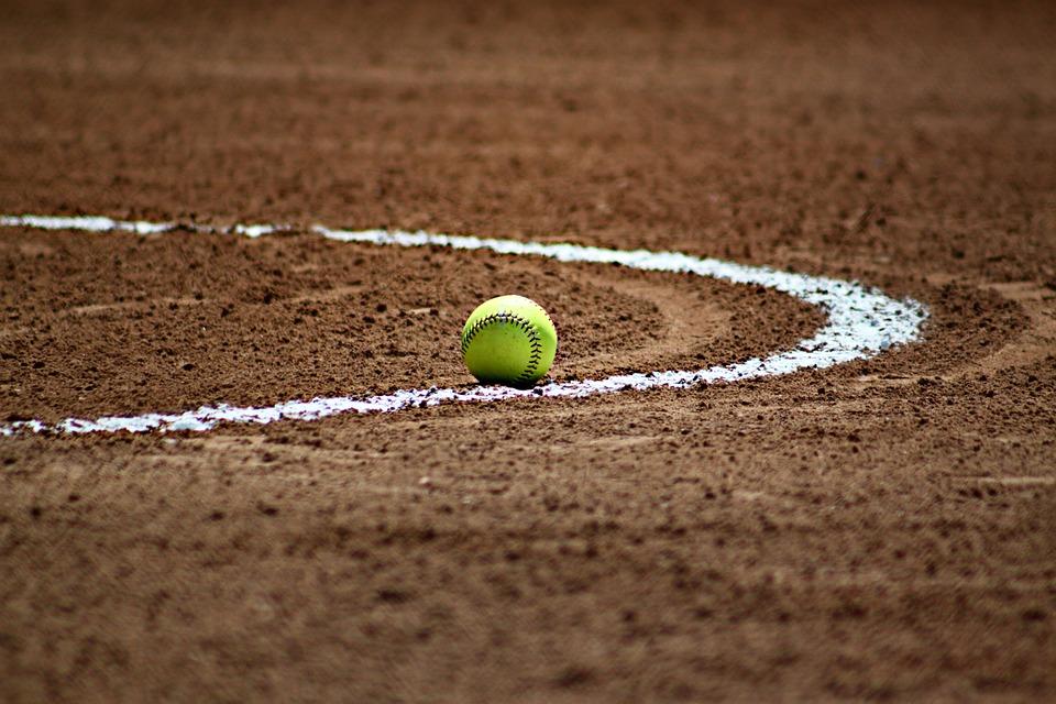 softball in infield