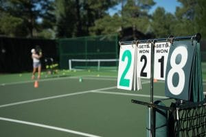 score board on tennis court