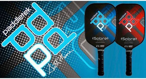 The new Paddletek Sabre paddle features a longer handle that reduces unused playing surface